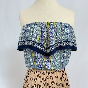 ASTR The Label Patterned Strapless Top